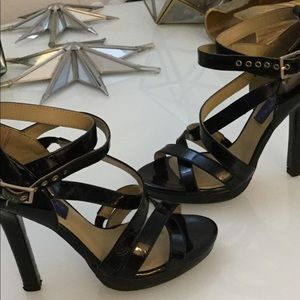 Jimmy Choo 37  Black strappy high heels